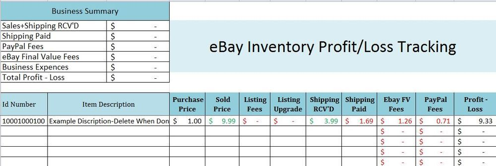 easy ebay inventory profit track sales excel spreadsheet for 2014 fees expences