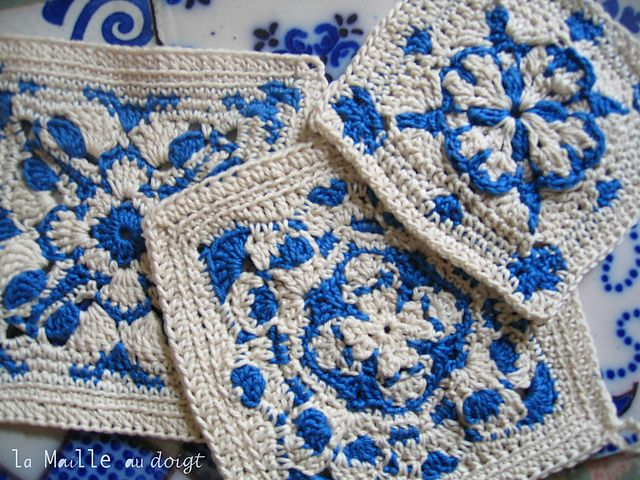 Inspirated by azulejos tiles, Aveiro square tutorial. Stunning!  Step by step tutorial, in French. It also has diagrams.