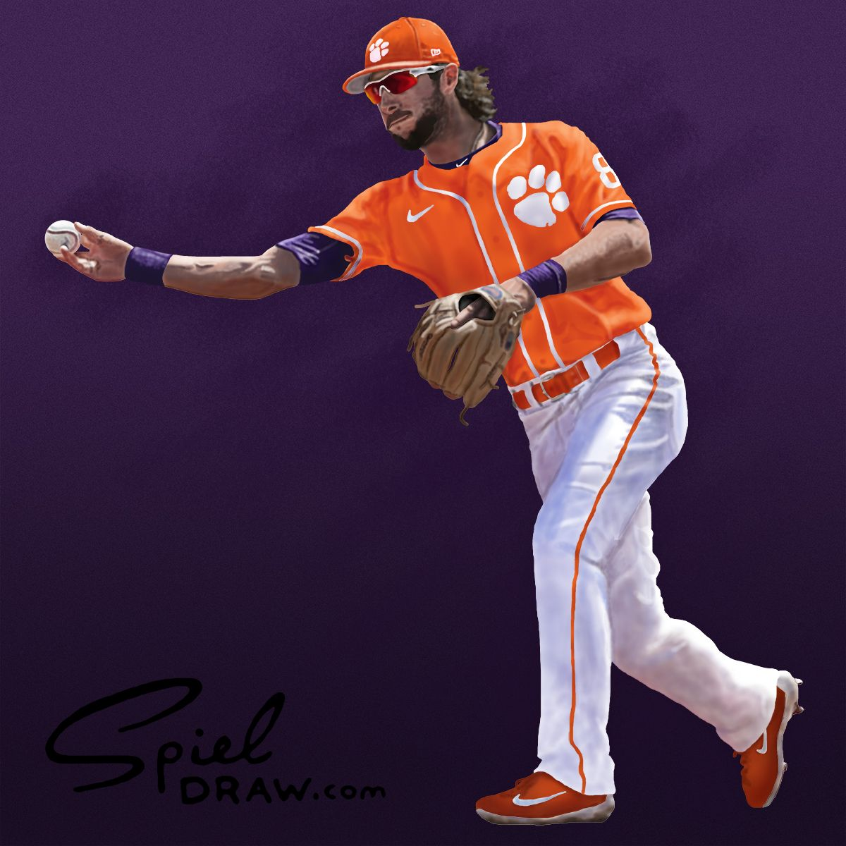 8b423af8d Digital painting of Clemson infielder Weston Wilson. Created with paper