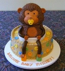 Baby Monkey Birthday cake design