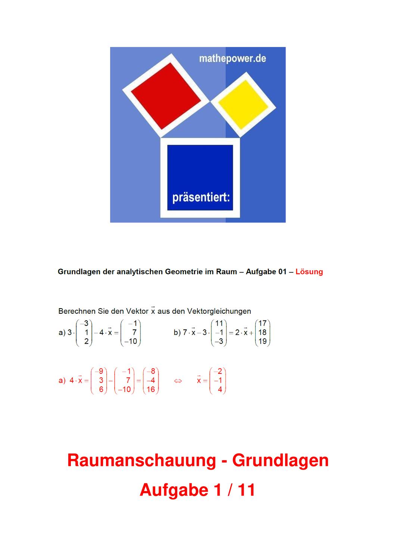 Grundlagen Der Analytischen Geometrie Im Raum 1 Unterrichtsmaterial Im Fach Mathematik Analytische Geometrie Mathematik Mathematik Bucher