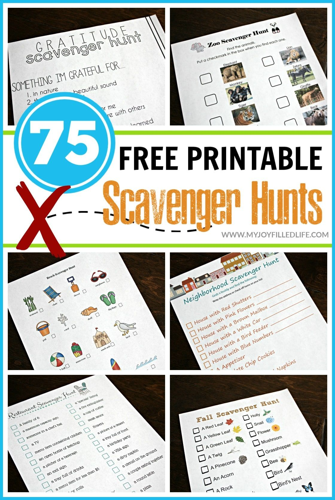 75 Free Printable Scavenger Hunts In