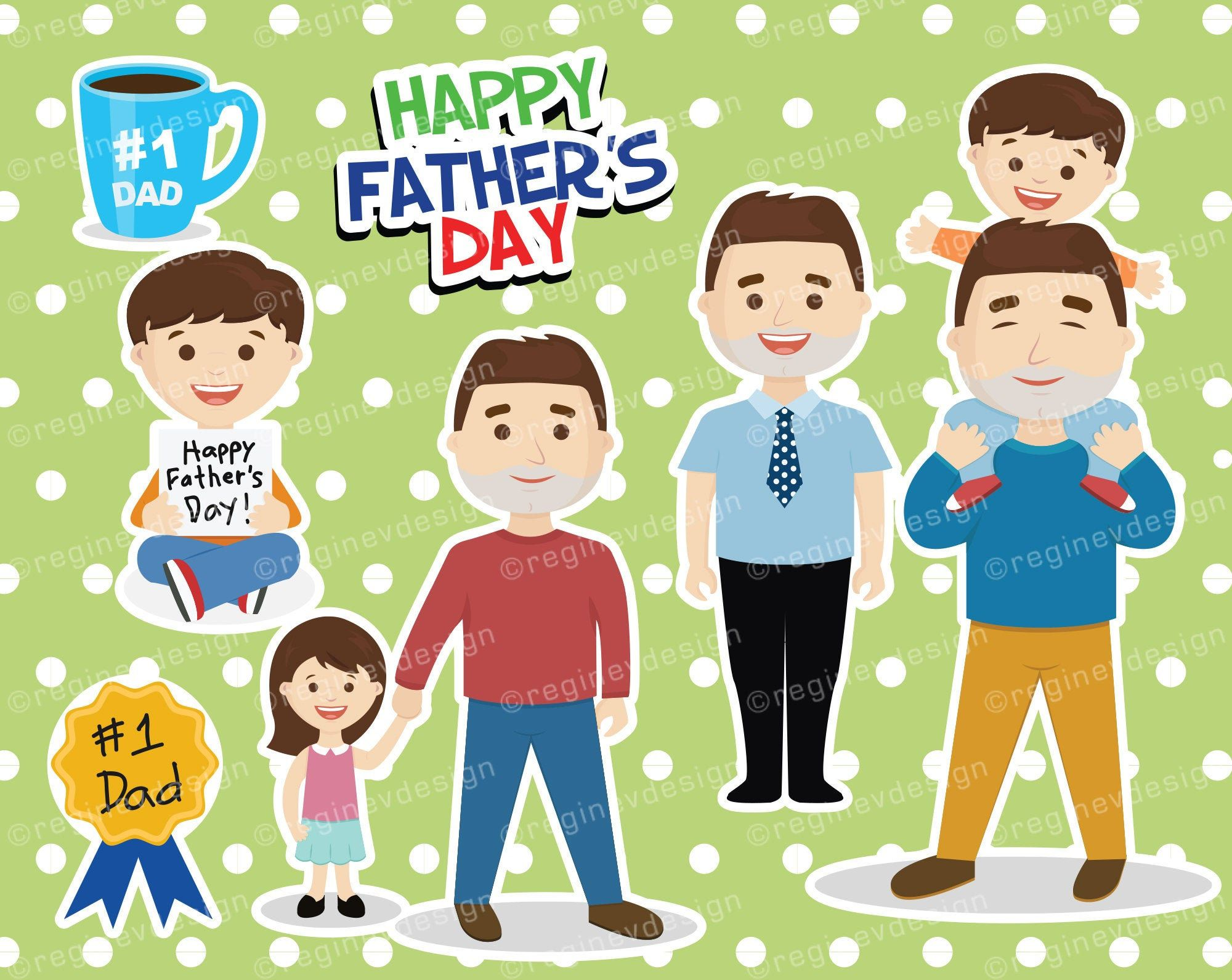 Father S Day Clipart Vector Daddy 1 Dad Party Etsy Dad Party Daddy Personal Celebration