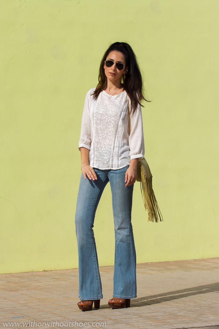 Blusa boho con bordados y Jeans Acampanados | With Or Without Shoes ...
