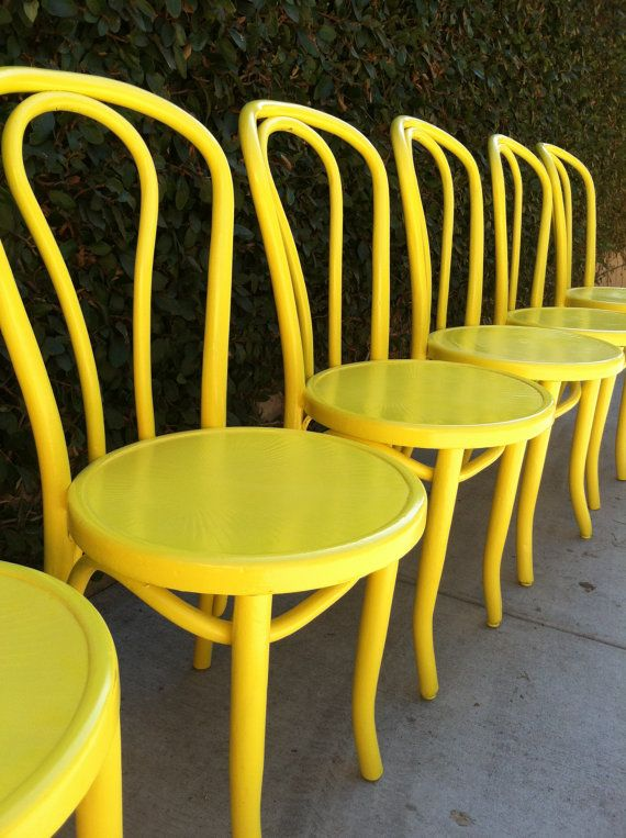 6 Cafe Stoelen.Vintage Bentwood Chairs Set Of 6 Dining Chairs Custom Color Cafe