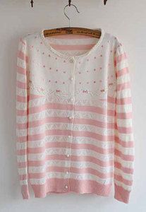 Price:$33.90 Color: Sky Blue/Pink  Material: Cotton Sweet Fresh Lace Crochet Stripe Dot Print Cardigan