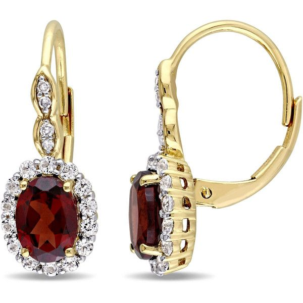 Diamond Accent Red Garnet 14K Gold Drop Earrings (£1,285) ❤ liked on Polyvore featuring jewelry, earrings, gold earrings, 14k gold jewelry, 14k yellow gold earrings, red garnet jewelry and yellow gold jewelry