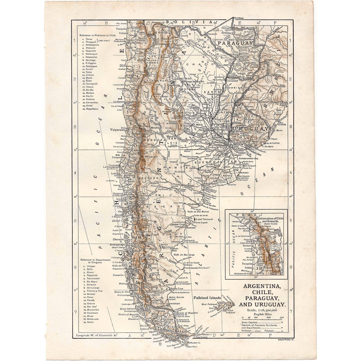 Argentina Chile Paraguay Uruguay Instant Download PreWorld - Argentina map download