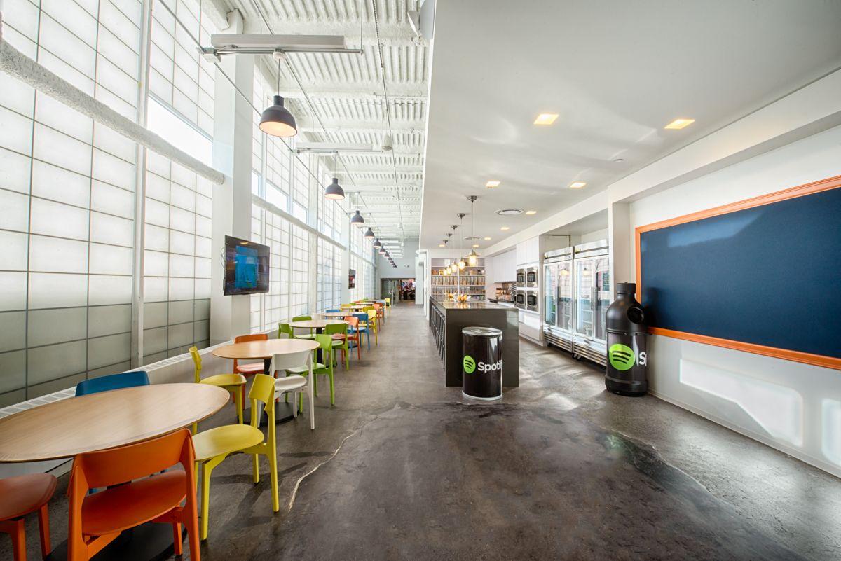spotify york office spotify. spotify  cafeteria