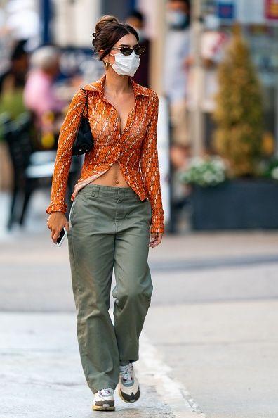 Emily Ratajkowski Sage Green Straight Fit Trousers