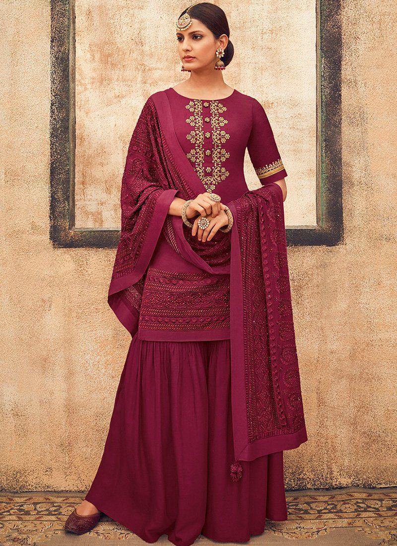 Deep Magenta Embroidered Gharara Suit - Lashkaraa (With