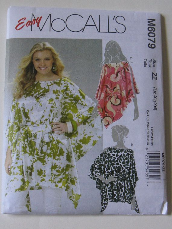 377051b622c8d5 Easy McCall's Sewing Pattern M6079 Plus Size Tops Tunics New & Uncut Pattern .
