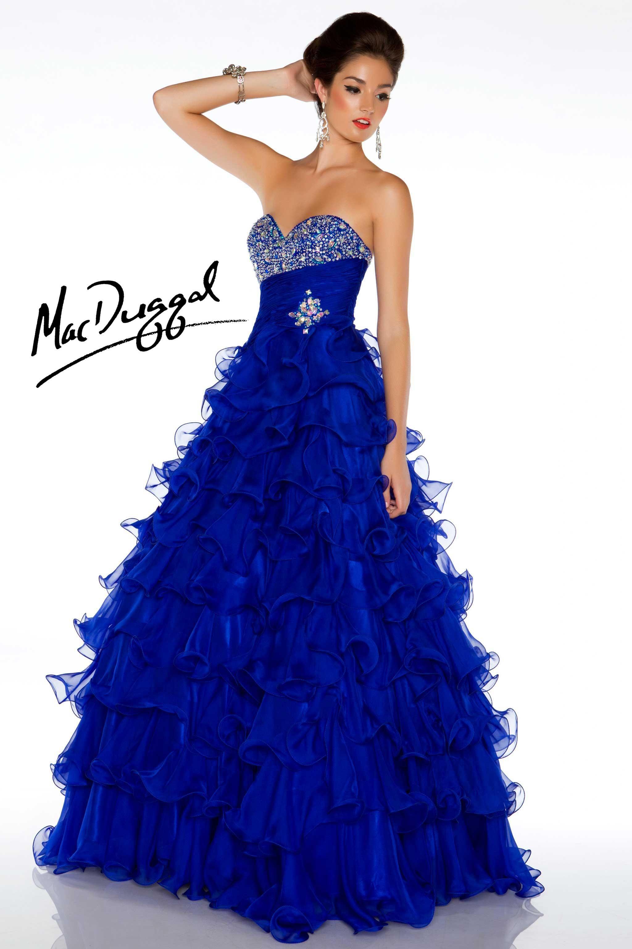 Cobalt blue Ball Gown with Ruffled Skirt mcduggal 4951H | All ...