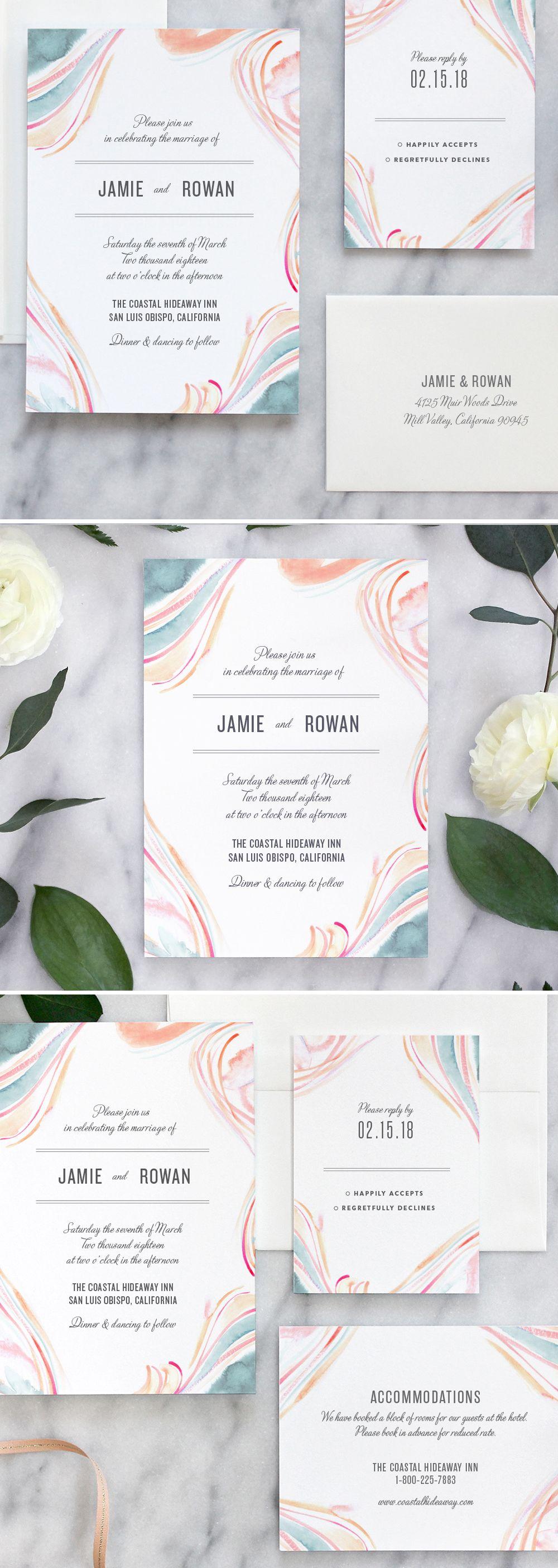 Marble Watercolor Wedding Invitations: Pastel   Marbles, Watercolor ...