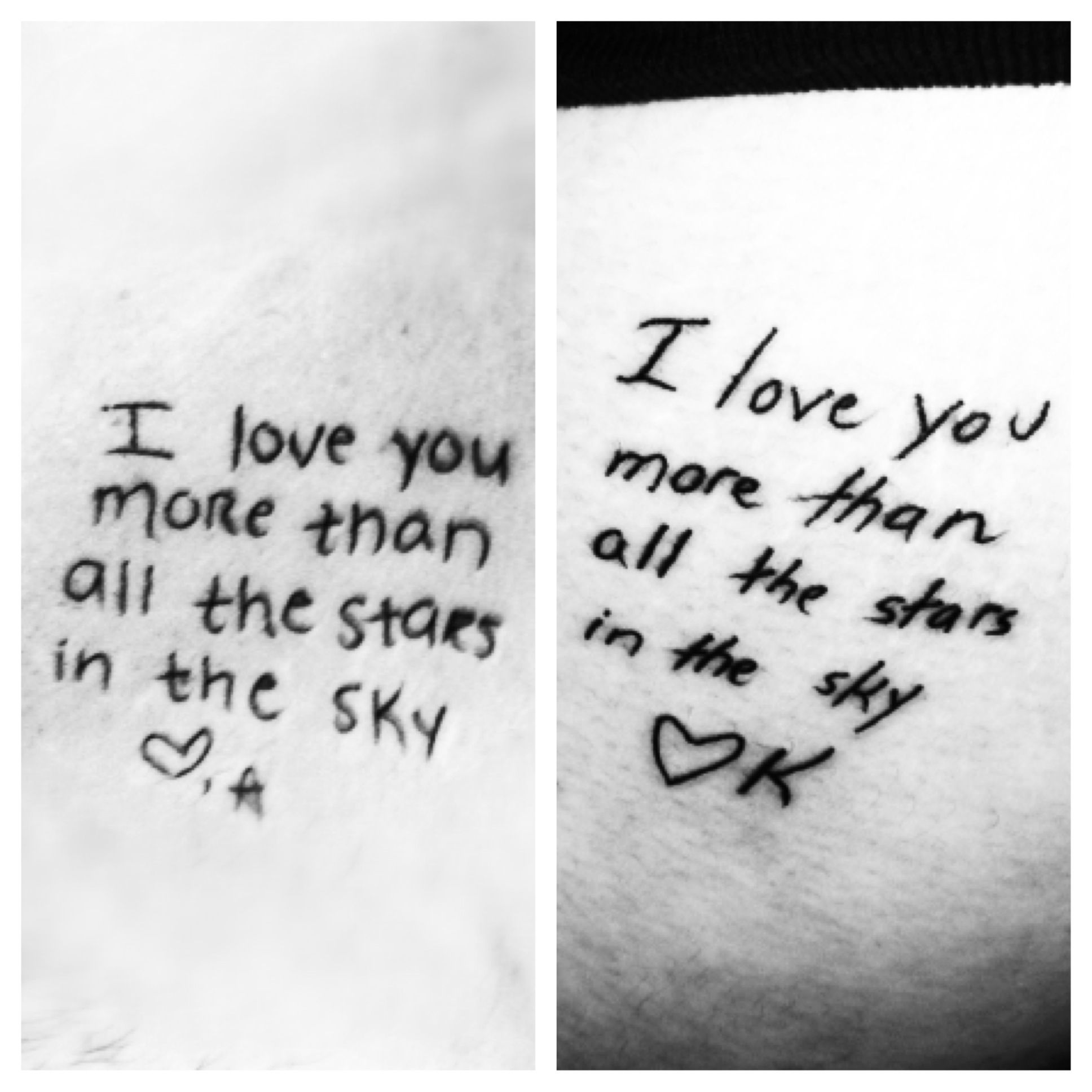 Matching Love Quote Tattoos In Each Others Handwriting