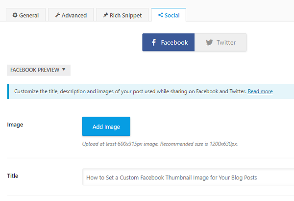 How to Set a Custom Facebook Thumbnail Image for Your Blog Posts 1