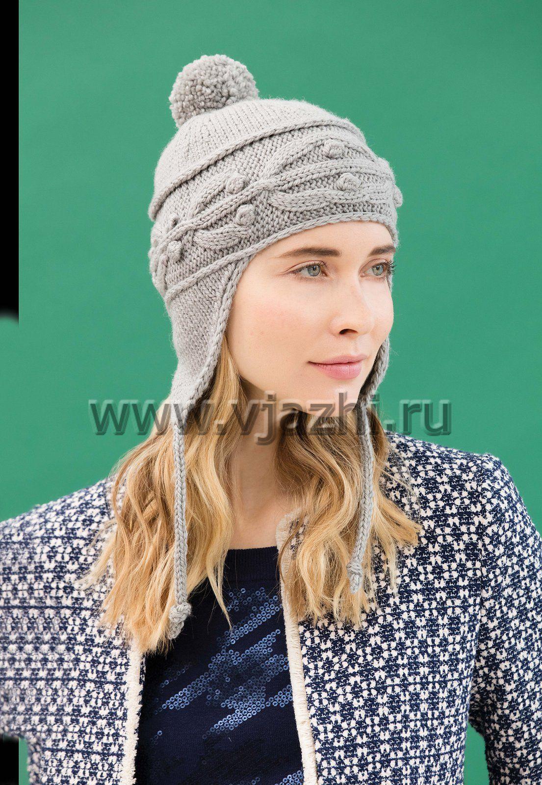 схема вязания женской шапки ушанки