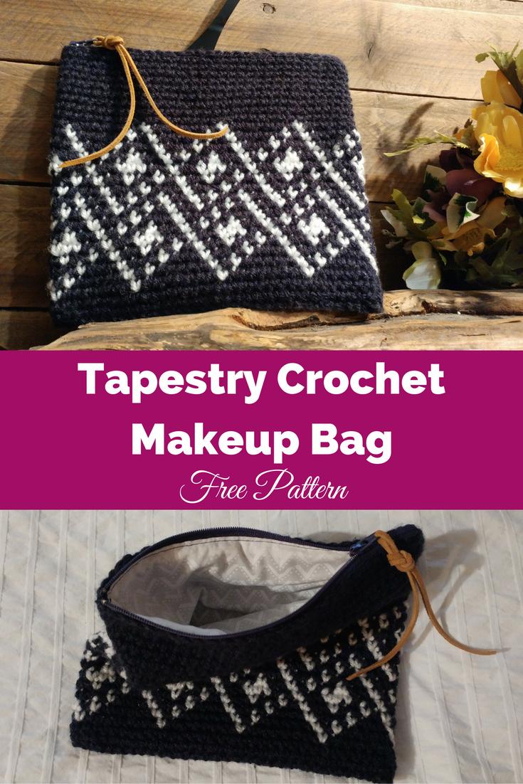 Tapestry Crochet Makeup Bag Free Crochet Bag Pattern | Crochet ...