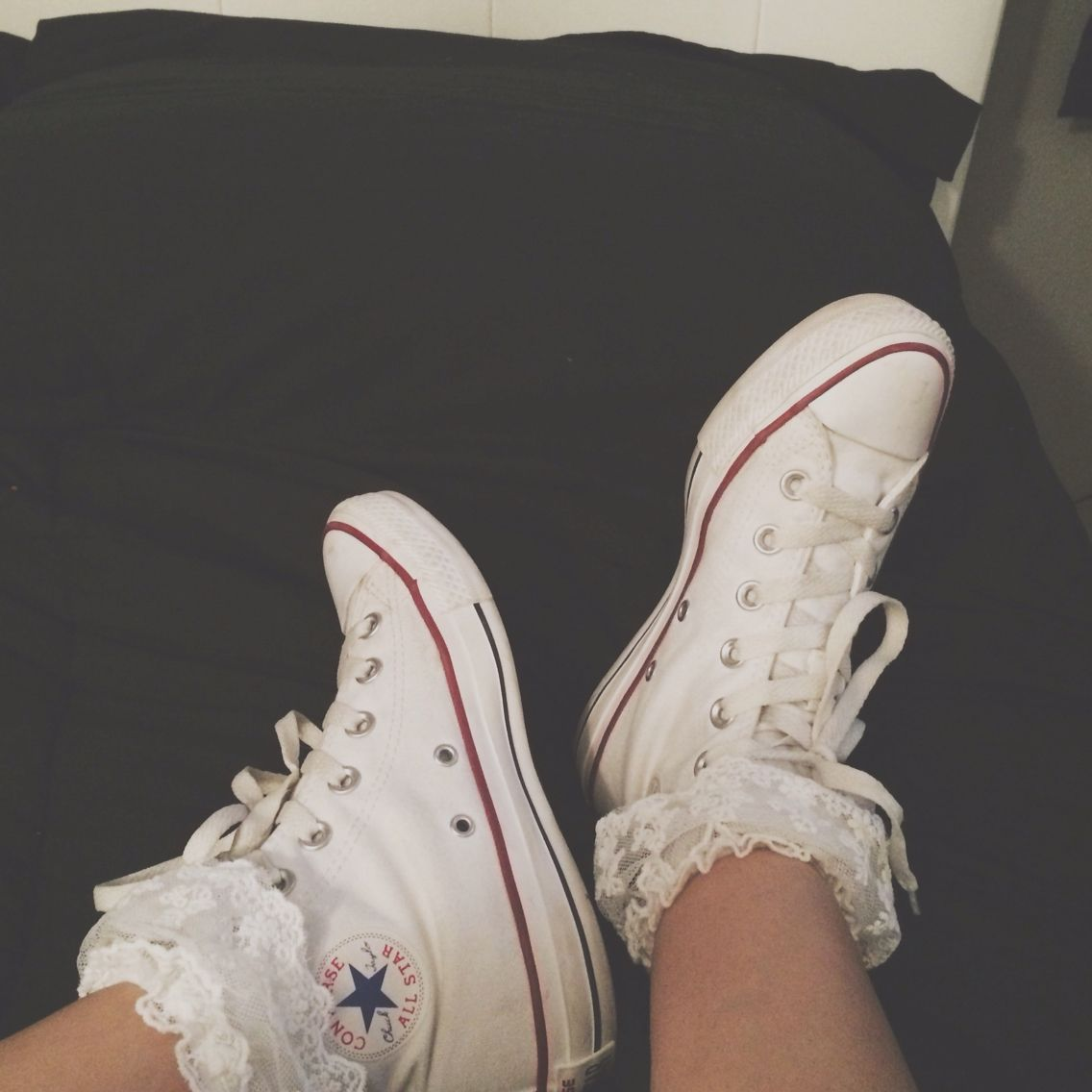 3269a0bc25d2 White high top converse with lace socks  converse  hightops  lace ...