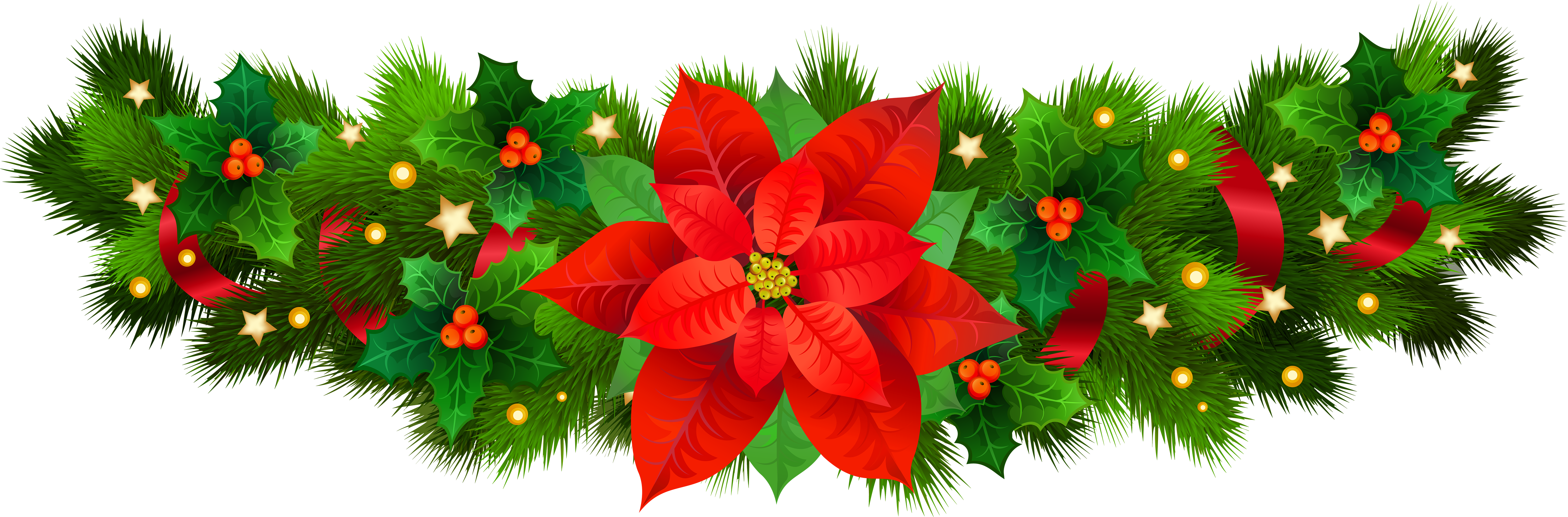 Christmas Decorative With Poinsettia Png Clip Art Image Clip Art Art Images Free Clip Art