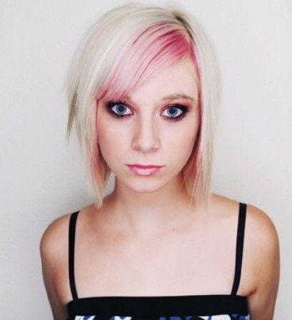 Faded Pink Fringe Hair Colors Ideas Short White Hair Short Hair Styles Pink Blonde Hair