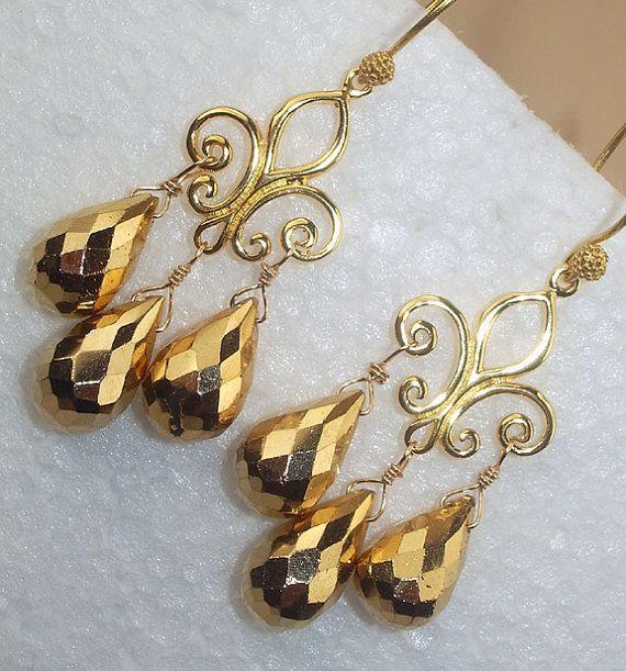 Gold Pyrite Earrings Chandelier Fleur de Lis Wire Wrapped