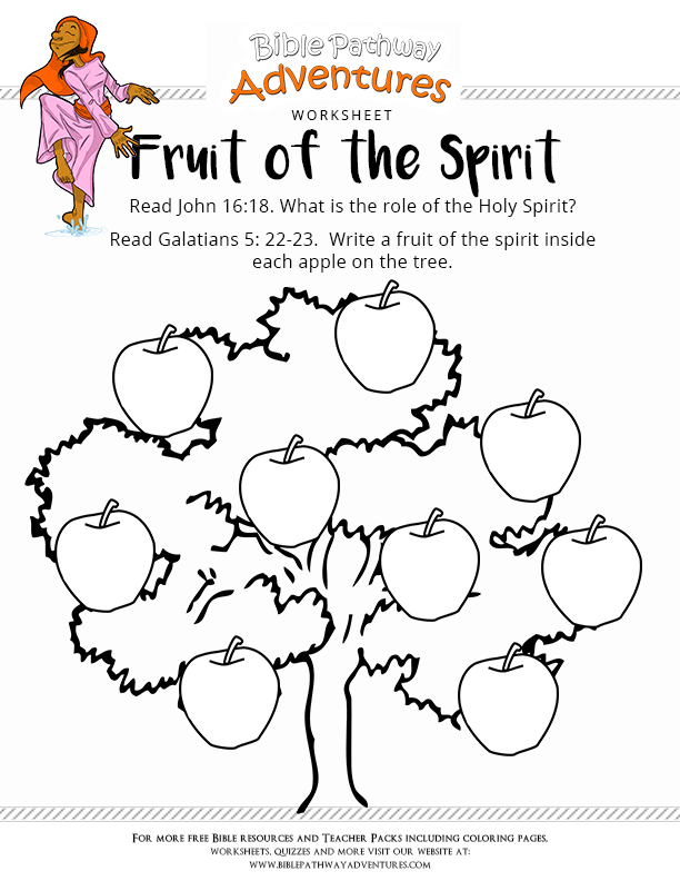 free bible worksheet  fruit of the spirit