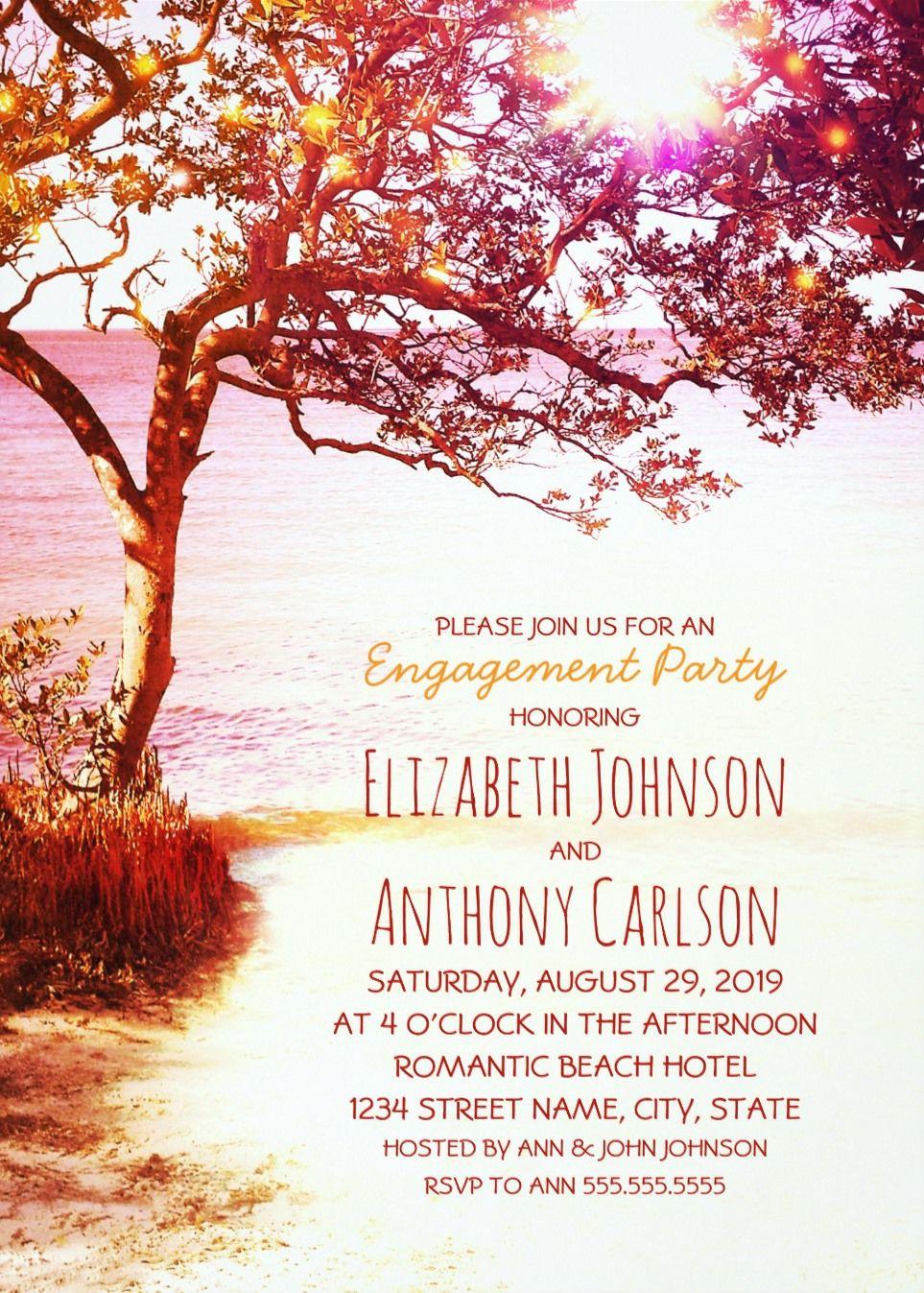 Whimsical Engagement Party Invitations Tree Sunset Lake Beach | Lake ...