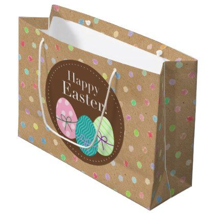 Happy easter eggs polkadots on faux kraft paper large gift bag explore these ideas and more happy easter eggs polkadots on faux kraft paper large gift bag negle Choice Image