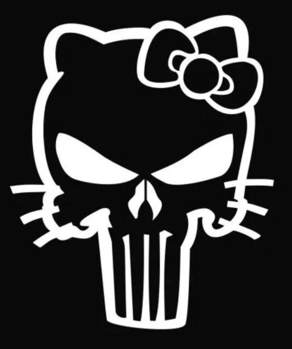Hello Kitty Punisher Skull DecalSticker Custom Leather - Hello kitty custom vinyl stickers