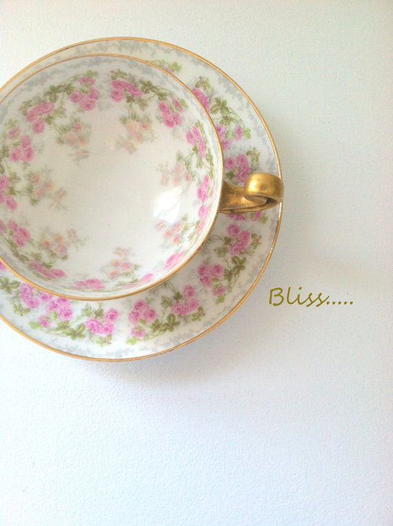 Antique Handpainted Limoges Higgins and Seiter New York DC France L. Bernardaud & Co. Tea Cup and Saucer  - Ca. 1900's