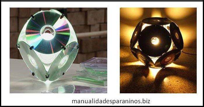 manualidades-caseras-lampara-con-cdjpg (700×368) cross Pinterest - Lamparas Caseras