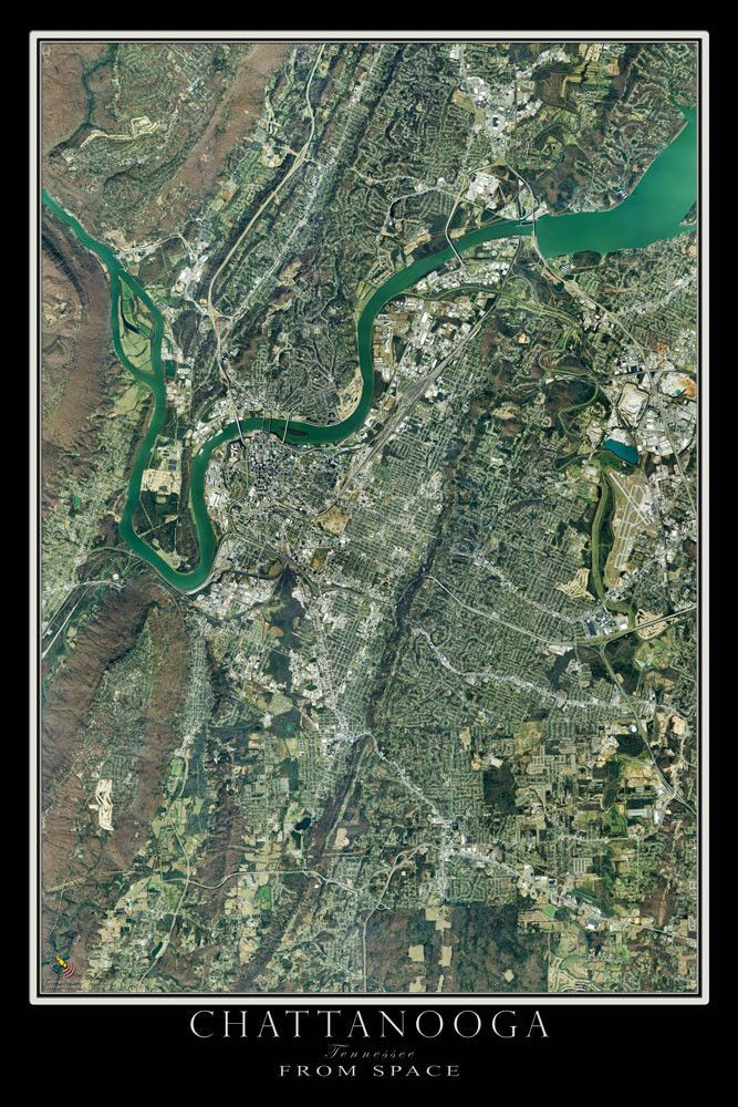 Chattanooga Tennessee Satellite Poster Map Chattanooga Tennessee - Live aerial maps