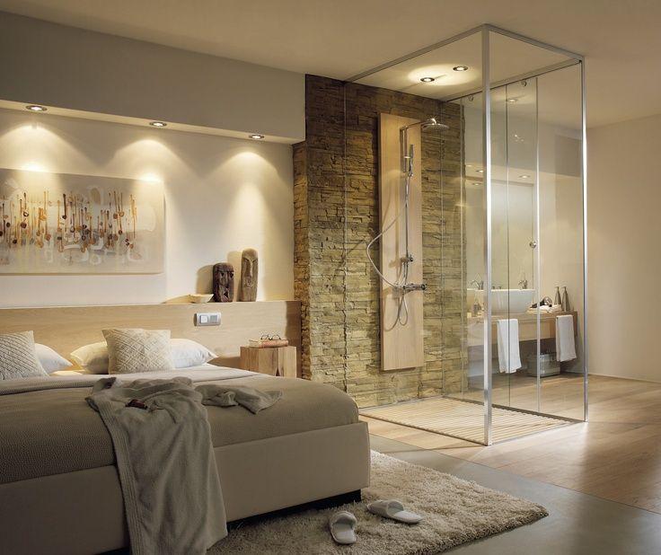 75 slaapkamer badkamer combinatie met glazen wand slaapkamer ideen kleine slaapkamer met - Glazen kamer bad ...