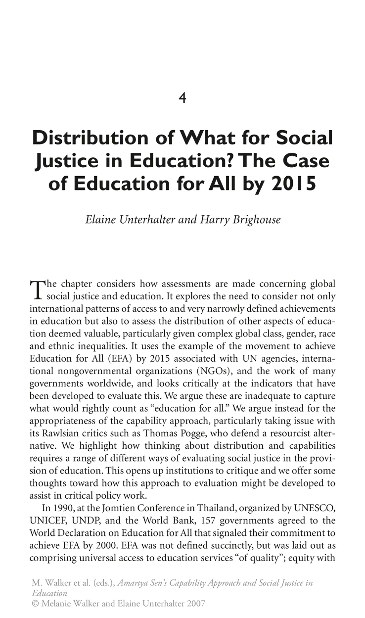 Amartya SenS Capability Approach And Social Justice In Education
