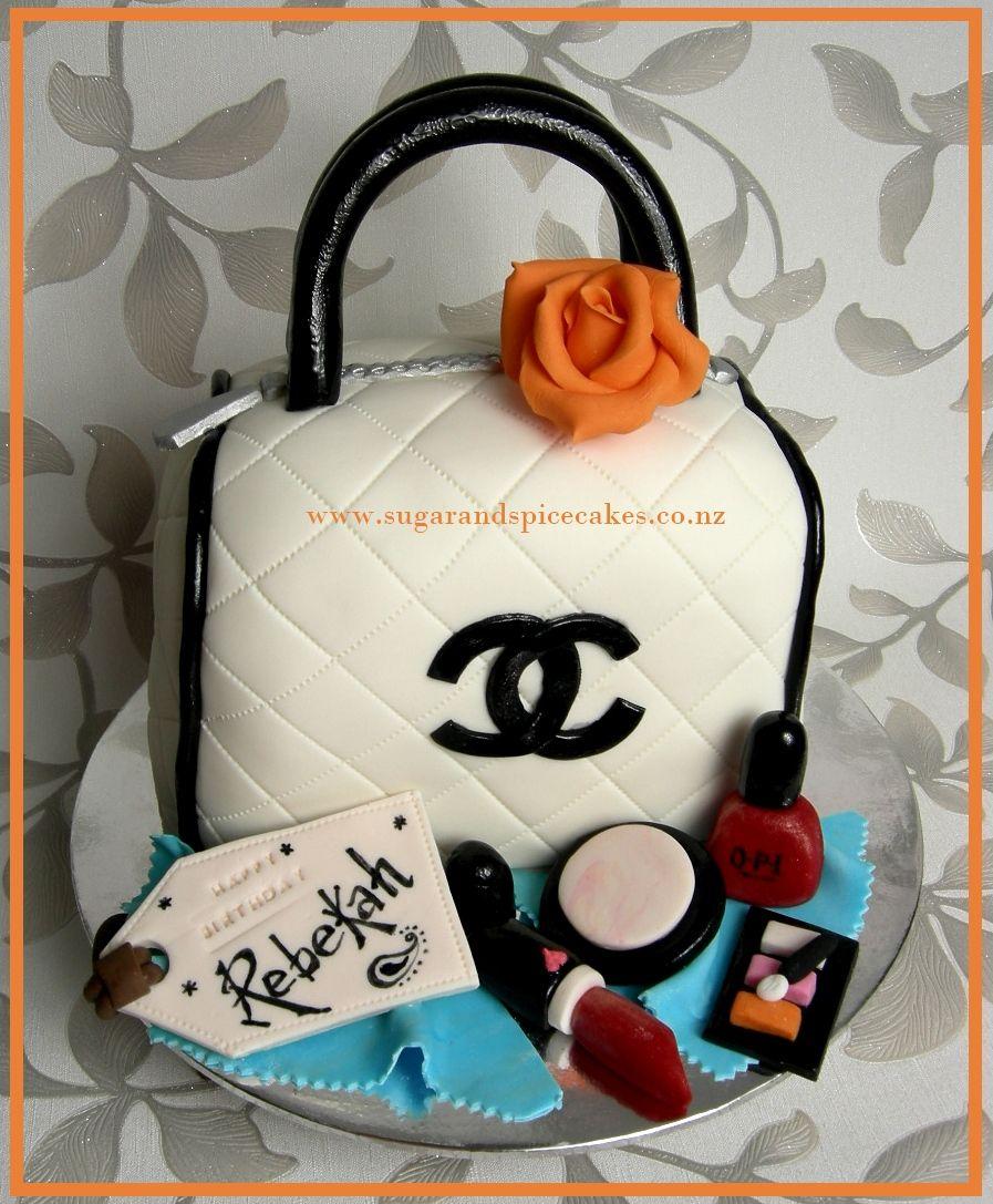 Chanel Handbag cake with edible Makeup www