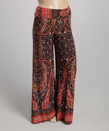 25 Love this Black & Red Paisley Palazzo Pants - Plus on #zulily! #zulilyfinds