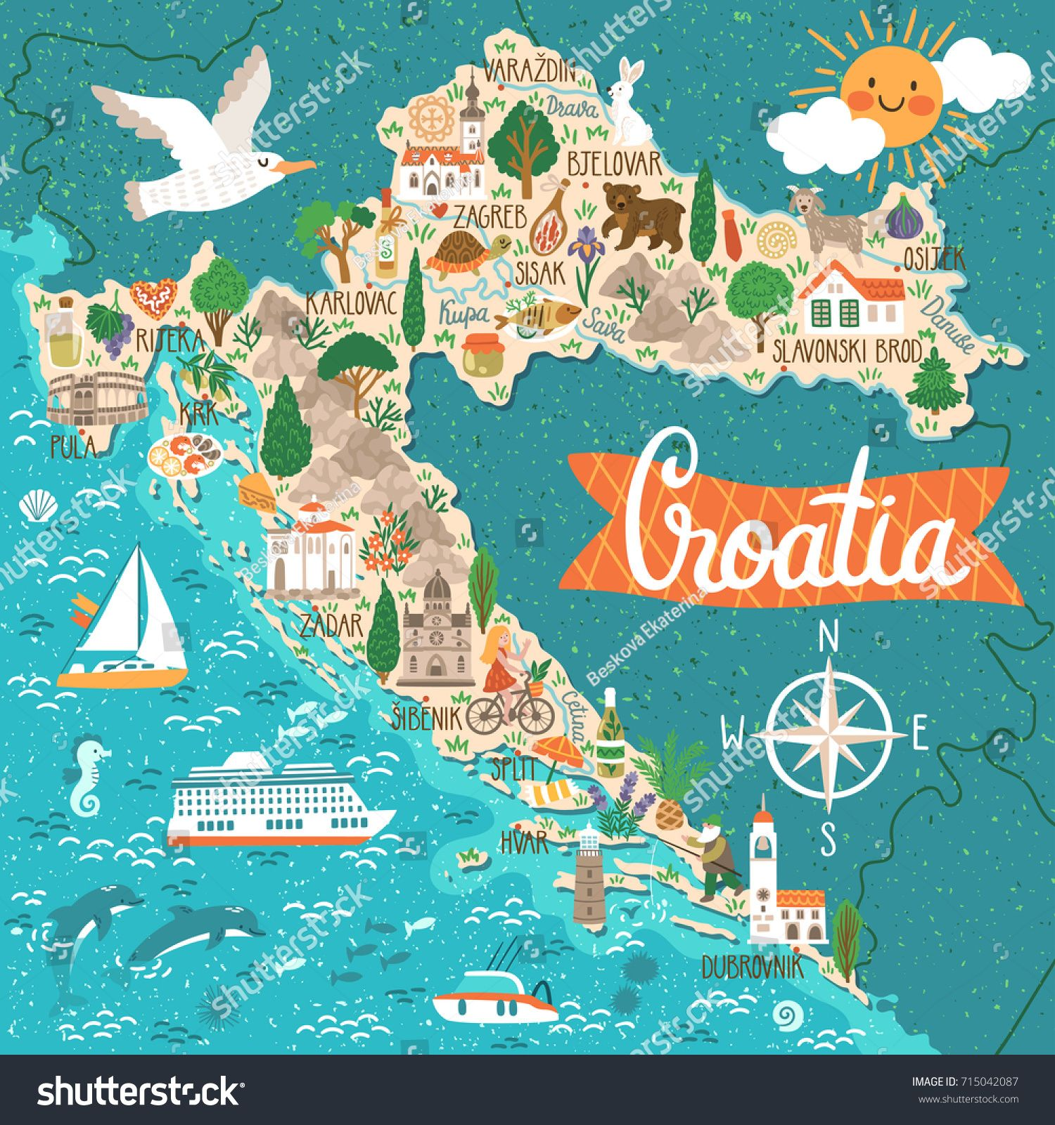Vector stylized map of Croatia. Travel illustration with ...