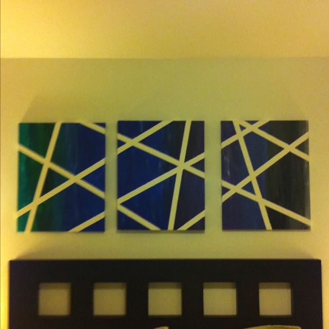 3 canvas painters tape painting I just finished. Color fades from ...