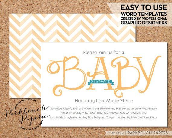 Baby Shower Invitation - Yellow Ribbon - DIY Editable Word - baby shower invitations for word templates