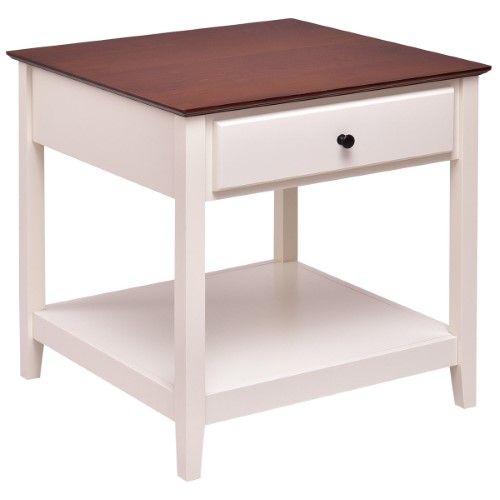 Costway Wood Side Table End Table Night Stand Coffee Table With Drawer And Shelf Square Waln Side Table Wood End Tables With Drawers Coffee Table With Drawers
