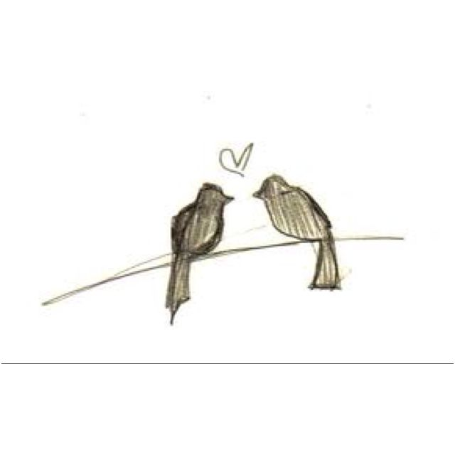 Love birds. Tattoo sketch.