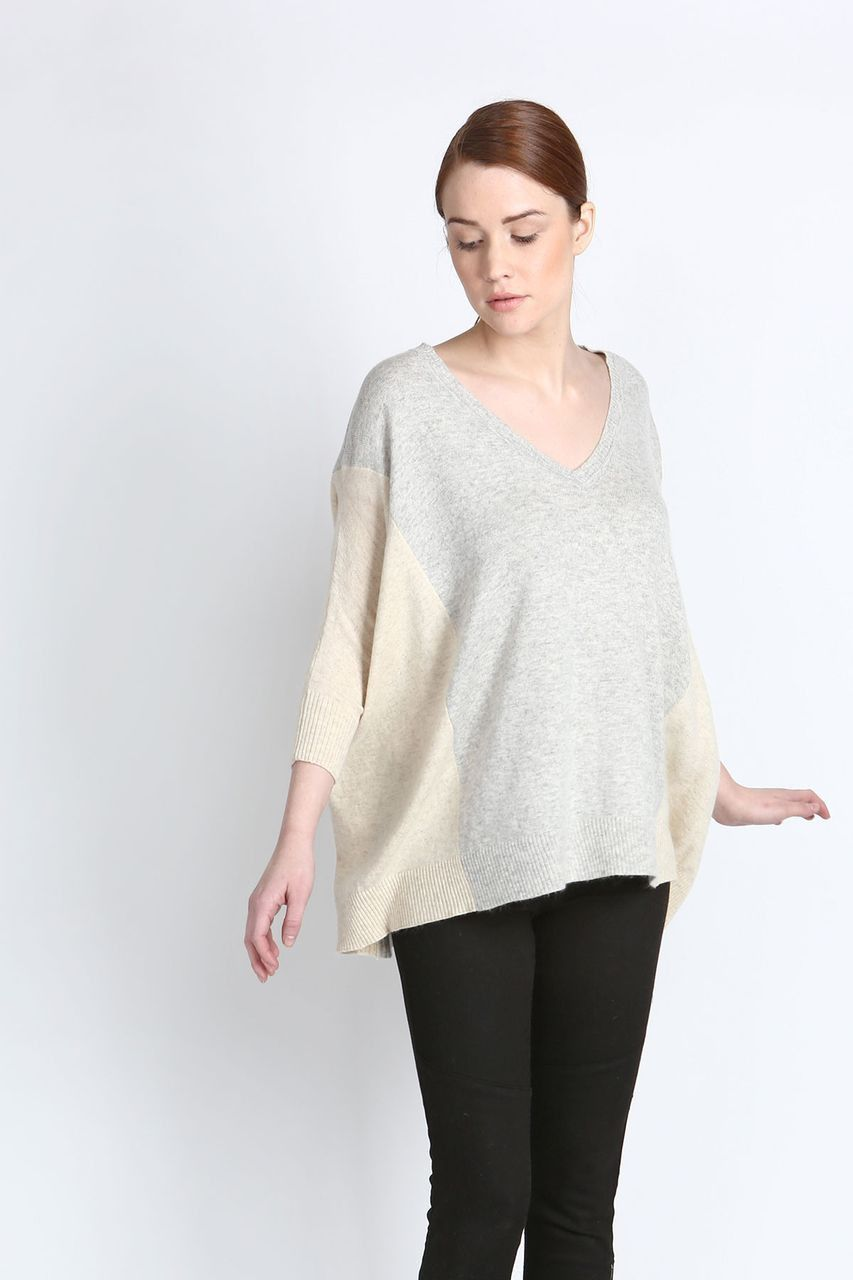 Contrast V-Neck Sweater-Moved to Shoptiques