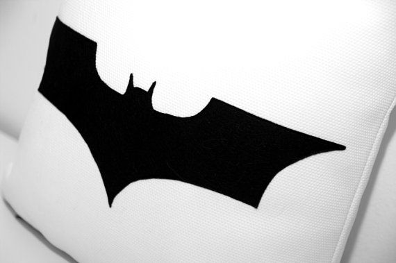 Batman cushion cover  white and black by ItsTimeToDream on Etsy, €30.00