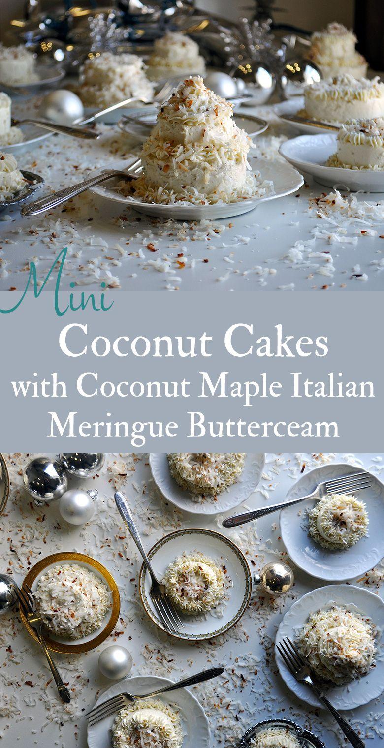 Mini coconut cakes with coconut maple italian meringue