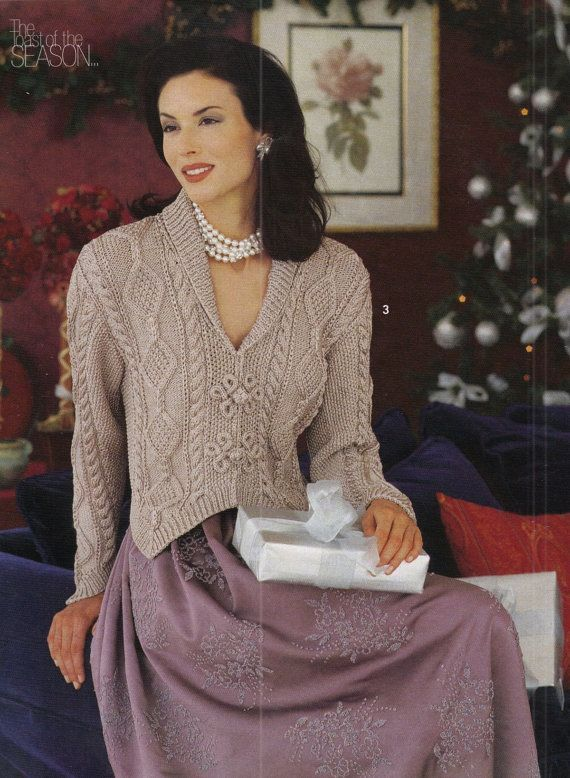 "Woman Aran Cardigan Shawl Collar Pointy Cuff Celtic Buttons  32-40/"" To Knit"