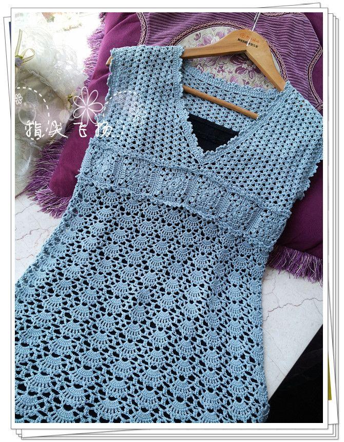 crochet shirt 秋水伊人(201212)---烟蓝色大V领连衣裙 - 指尖飞扬 - 指 ...