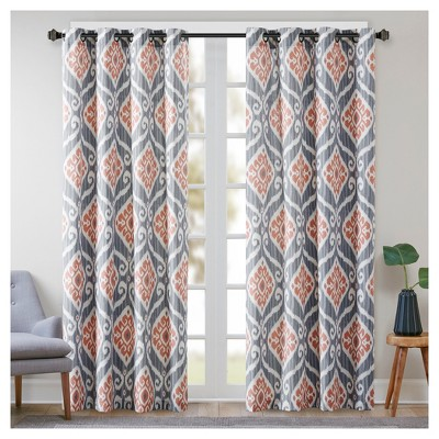 Catori Printed Ikat Window Curtain Panel C Pink 50 X84