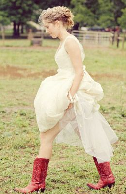 Wedding Dress With Red Cowboy Boots Red Cowgirl Boots Bride