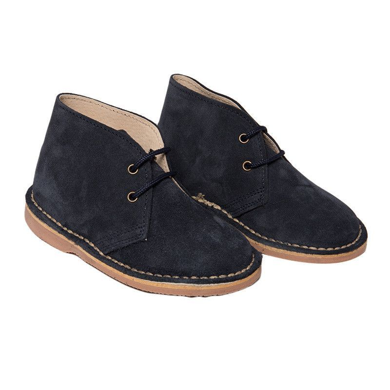 Suede Chukka Boots In Navy With Matching Laces